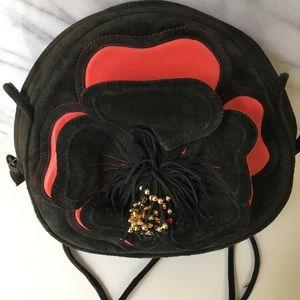 Vintage black & red leather handbag with flower